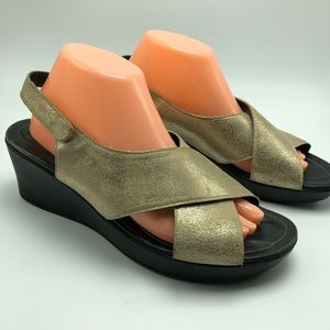 Mephisto Gold Leather Slingback Sandals Wedge Heel